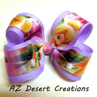 Boutique Light Purple Bow with Tinker Bell Ribbon Handmade Hair Bow