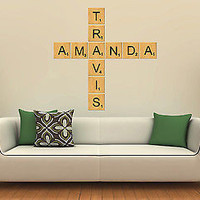 Scrabble Tiles Wall Decal Letters