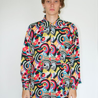 Vintage Silk Psychedelic Shapes Button Up Shirt
