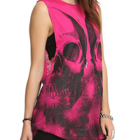 Teenage Runaway Pink Glitter Skull Top