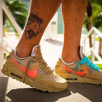 Nike Air Max 90 2.0 X Off-white X Ow High Elastic Soft Rubber Shoes