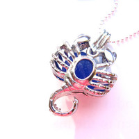 Scorpio locket necklace with royal blue Sea Glass - Perfect Gift for Birthdays from October 23 through November 22 FREE SHIPPING