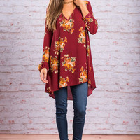 Love At First Sight Tunic, Burgundy