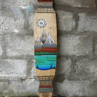 Hand painted 44' longboard - Mountains and Lake - by Maia Walczak