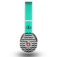 The Teal Chevron Monogram Skin for the Beats by Dre Headphones (All Versions Available)