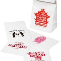 Take-Out Fake-Out Lunch Bags: Restaurant parody lunch bags