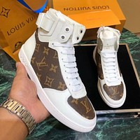 LV Louis Vuitton Newest Trending Women Casual Stylish High Top Sport Shoes Sneakers White/Coffee