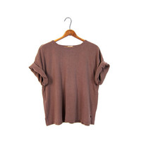 90s Brushed Silk Tshirt Brown Natural Short Sleeve Slouchy Tee Blouse Minimalist Modern Boxy Top Vintage XL