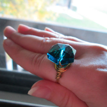 Blue Cocktail Ring, Faceted Glass Octagon Bead, Wire Wrapped, Gold Toned Wire, Custom Sizing, Made To Order