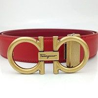 Ferragamo Tide Brand Classic Horseshoe Buckle Smooth Buckle Belt