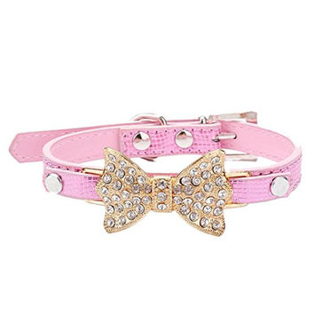 Lillypet(TM) Bling Rhinestone Pet Cat Dog Bow Tie Collar Necklace Jewelry for Small or Medium Dogs Cats Pets Female Puppies Chihuahua Yorkie Girl Costume Outfits, Light and Adjustble Buckle Pink XS