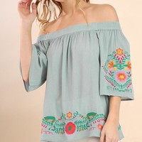 Dusty Blue Off Shoulder Embroidered Top