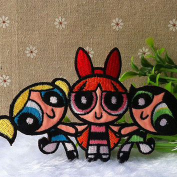 The Powerpuff Girls Logo iron on patch E037 by happysupply on Etsy