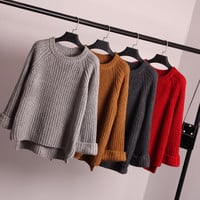 Women's Fashion Jacket Winter Pullover Knit Sweater Tops Shirt [9108850183]