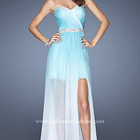 Strapless Ombre High Low Prom Dress
