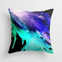 Teal and purple running color Double-side print Abstract color blast Pillow or pillowcase Square pillow Indoor pillow