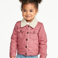 Sherpa-Lined Pink Trucker Jacket for Toddler Girls|old-navy