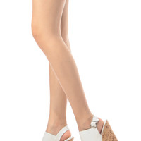 White Faux Leather Sling Back Cork Wedges