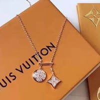 LV double pendant micro-inlaid zircon sleek minimalist necklace