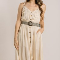 Ainsley Taupe Belted Midi Dress