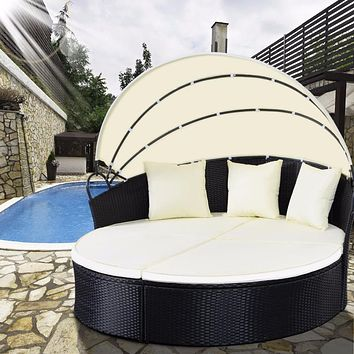 Charming Patio Outdoor Daybed Rattan Sofa