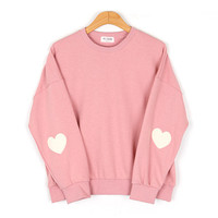 autumn Casual College Wind soft sister lovely heart-shaped sleeve solid color embroidery patterns loose sweatshirt for girls