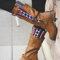 On The Run Peeka Boo Aztec Boots-Tan
