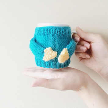 Blue and yellow Crochet mug cozy with hands, coffee cup sleeves, Coffee cozy, mug cozy, tea cozy, cup cozy