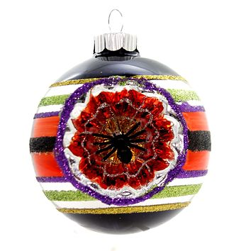 Shiny Brite HALLOWEEN DEC ROUNDS REFLECTOR. Spiders Spooky Ornament 4027670 Black