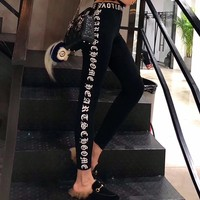 """""""Chrome Hearts"""" Women All-match Fashion Personality Letter Print Tight Thickened Leggings Pants Trousers Sweatpants"""