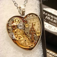 Clockwork Heart with Vintage Watch Parts Steampunk Style Necklace- Great Valentines Day Gift (1955)