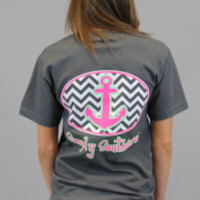 Simply Southern Tee - Charcoal Zig Zag Anchor