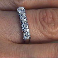 0.70ct Round Diamond Wedding Ring 18kt White Gold JEWELFORME BLUE