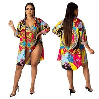 Versace women's fashion printed shirt coat + one piece swimsuit two piece suit