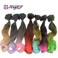 "Angel 20""120g Ombre Clip in Hair Extensions 5pcs in 1 set Rainbow Color Synthetic Clip in Hair Piece"
