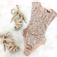 Sequined Sleeveless Jumpsuits