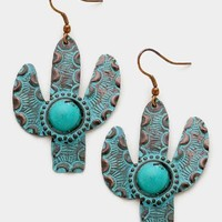 Willow Turquoise Stone Cactus Earrings