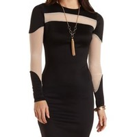 Mesh Cut-Out Bodycon Dress by Charlotte Russe - Black Combo