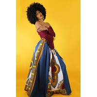 Ava African Dashiki Denim Skirt