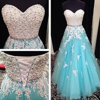 Long Organza Formal Wedding Evening Party Ball Gown Prom Bridesmaid Dress 6-16