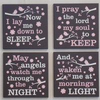 Now I Lay Me Down To Sleep / I Pray The Lord My Soul To Keep, Set of Four Wall Sign for Baby Girl Nursery Chocolate Brown Signs Baptism Gift