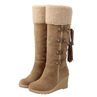 Winter Boots Women Fashion Snow Boots New High Heel Boots With Tassels Women Shoes Fashion Sexy Long Snow boots size 35-43