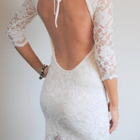 White Backless Half Sleeve Lace Dress