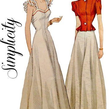 40's One Piece Evening Dress Jacket Flared Waist Easy to Sew Sweetheart Neckline Simplicity 3680 Sewing Pattern Printed Size 14 Bust 32