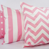 Three Decorative Pillow Covers - Light  Pink and White Couch Pillows - 16 x 16 inches Couch Pillow Cushion Cover Accent Pillow