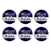 Rylan Hello My Name Is Plastic Resin Button Set of 6