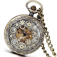 Lancardo Vintage Bronze Mechanical Mens Boys Wheel Pocket Watch for Father Grandfather with Gift Bag