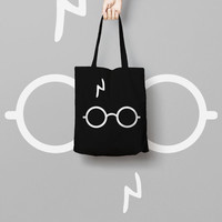 Harry Potter Black Tote Bag Glass - Canvas Tote - Printed Tote Bag - Market Bag - Cotton Tote Bag - Large Canvas Tote - Funny Quote Bag