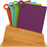 4 PC Pro Cutting Boards Set with Bamboo Storage Stand