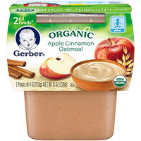 Gerber Organic 2nd Foods, Apple Cinnamon Oatmeal, 2 Count, 3.5 Ounce (Pack of 8)